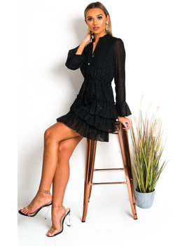 Fifi Shimmer Frill Shirt Dress In Black by Ikrush