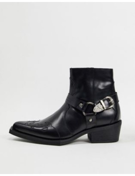 Asos Edition Leather Western Cuban Boot With Square Toe by Asos Edition