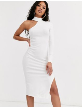 Asos Design One Sleeve Knit Midi Dress by Asos Design