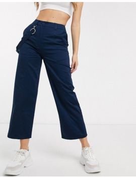 Asos Design   Skatebroek Met Rechte Pijpen In Navy by Asos Design