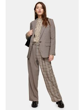 Brown Mixed Check Slouch Trousers by Topshop