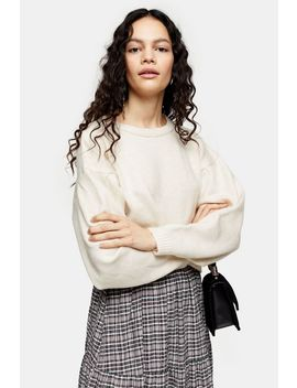 Neutral Pleated Shoulder Cropped Jumper by Topshop