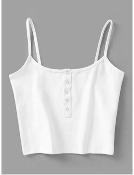 Cropped Snap Button Tank Top   White S by Zaful