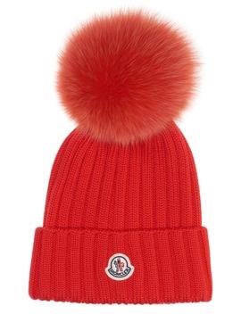 Genuine Fox Fur Pom Rib Wool Beanie by Moncler