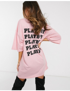 Missguided Playboy Slogan T Shirt Dress In Pink by Missguided's