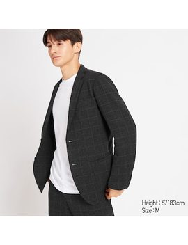 Men Checked Comfort Blazer Jacket  (4) by Uniqlo