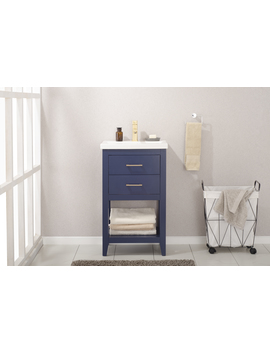 "Design Element Cara 20"" Single Sink Bathroom Vanity In Blue by Design Element"