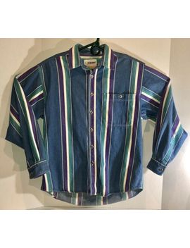 Vintage 1990's Exchange Unlimited Men's Size Medium Button Up Striped Shirt by M & M