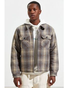 Stussy Heavy Brushed Plaid Zip Up Overshirt by Stussy