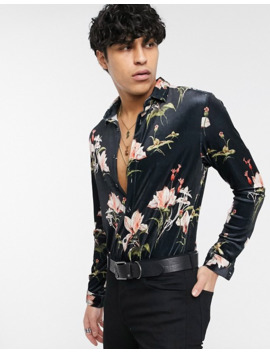 Asos Design Skinny Stretch Velvet Floral Shirt In Black by Asos Design