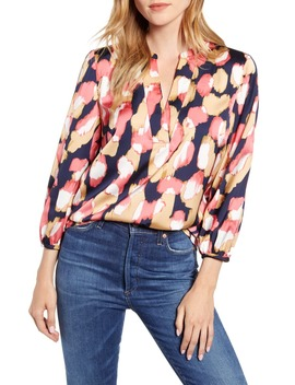 Midnight Floral Open V Neck Top by J.Crew