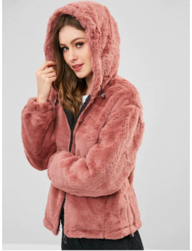 Hooded Plush Winter Faux Fur Coat   Lipstick Pink S by Zaful