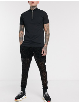 Asos Design Sweatpants In Mesh With Leopard Print Detail In Black by Asos Design
