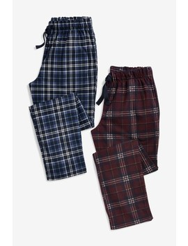 Navy/Burgundy Check Cosy Pyjama Bottoms Two Pack by Next
