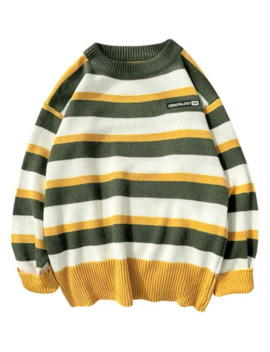 Colorblock Striped Letter Embroidery Sweater   Green M by Zaful