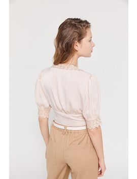 Uo Isabella Lace Trim Satin Blouse by Urban Outfitters