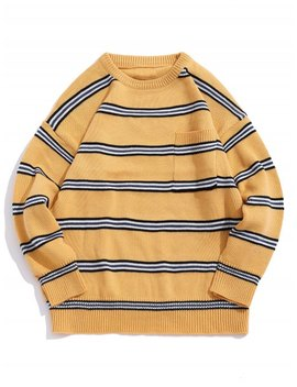 Striped Pattern Pocket Decorated Casual Sweater   Yellow Xl by Zaful