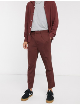 Asos Design Two Piece Tapered Crop Smart Pants In Chocolate Brown by Asos Design