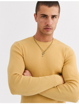Asos Design Muscle Fit Ribbed Sweater In Mustard by Asos Design
