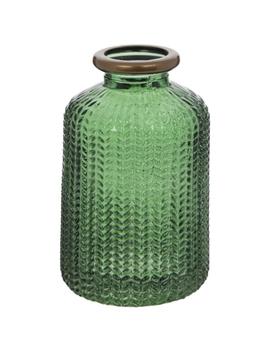 Green Herringbone Glass Vase by Hobby Lobby