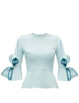 Kemi Bow Sleeve Crepe Blouse by Roksanda