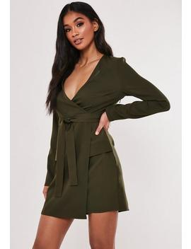 Khaki Utility Wrap Mini Dress by Missguided