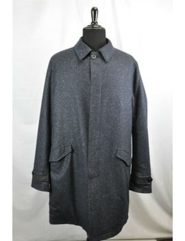Etro Navy Blue Wool Silk Reversible Men's Button Coat Sz 58 by Etro