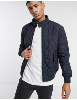 Polo Ralph Lauren Baracuda Player Logo Quilted Bomber Jacket In Navy by Polo Ralph Lauren