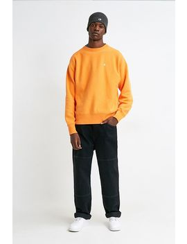 Champion Uo Exclusive Small 'c' Logo Washed Russet Orange Crew Neck Sweatshirt by Champion