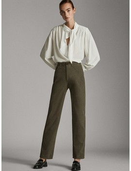 Textured Straight Fit Cotton Trousers by Massimo Dutti
