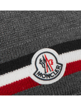 Logo Appliquéd Striped Ribbed Virgin Wool Beanie by Moncler