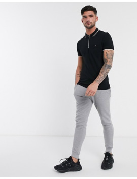 New Look Tipped Polo With Zip Detail In Black by New Look