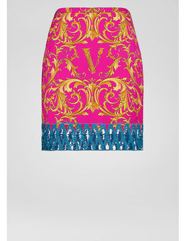 V Barocco Print Satin Skirt by Versace