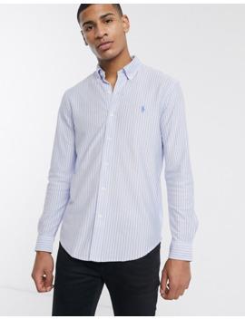 Polo Ralph Lauren   Slim Fit Pique Overhemd Met Lichtblauwe Strepen En Logo by Polo Ralph Lauren