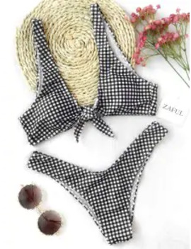 Popular Sale Front Tie Thong Plaid Bikini Set   White And Black S by Zaful