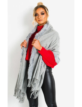 Dills Faux Fur Trim Cape In Silver by Ikrush