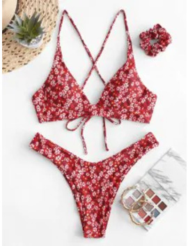 Popular Salezaful Tiny Floral Criss Cross Bikini Swimsuit With Hair Tie   Lava Red S by Zaful