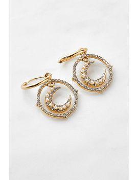 Crystal Moon Drop Hoop Earrings by Urban Outfitters