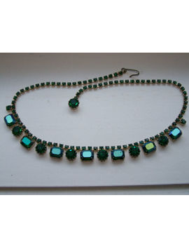 Vintage Weiss Signed Emerald Green & Peacock Rhinestone Necklace   O19 by Weiss