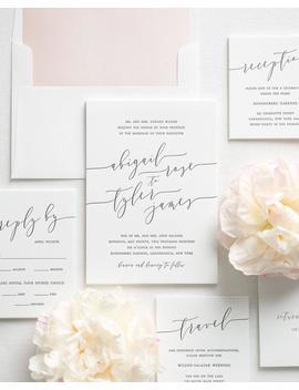 Romantic Calligraphy Letterpress Wedding Invitations   Sample by Etsy
