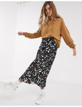 Asos Design Pleated Midi Skirt In Coloured Splodge Print by Asos Design