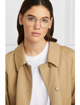 Square Frame Gold Tone And Tortoiseshell Acetate Optical Glasses by Gucci