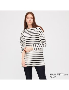 Women Striped Boat Neck Long Sleeved Tunic by Uniqlo