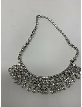 Stunning Vintage Signed Weiss Rhodium Crystal Glass Gemstone Bauble Necklace by Weiss