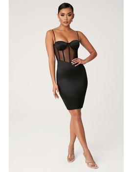 Braelyn Sheer Corsetted Bustier Dress   Black by Meshki