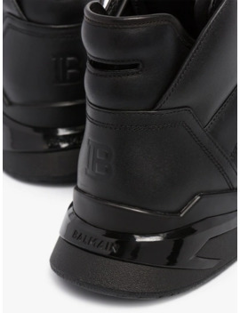 Black B Ball Leather Sneakers by Balmain