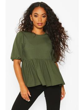 Petite Ribbed Puff Sleeve Smock Top by Boohoo