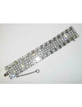 Vintage Weiss Bracelet Clear Crystals Safety Chain Rhinestone Sparkle by Weiss