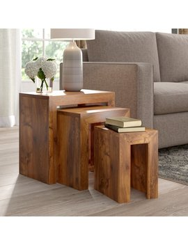 Sheesham Cube 3 Piece Nest Of Tables by Alpen Home