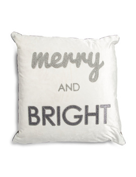 20x20 Velvet Merry And Bright Pillow by Tj Maxx